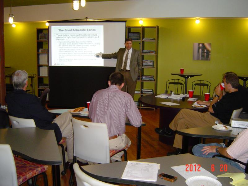 Patrick Kelly of ARCADIS teaching a workshop on Construction Scheduling